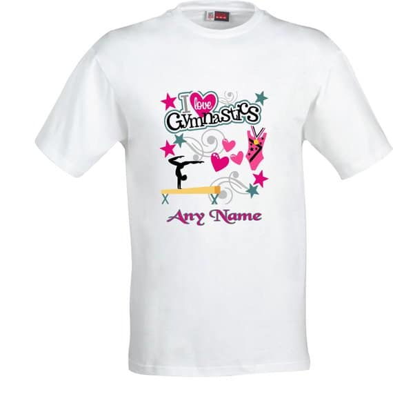 PERSONALISED I LOVE GYMNASTICS FULL COLOR SUBLIMATION T SHIRT
